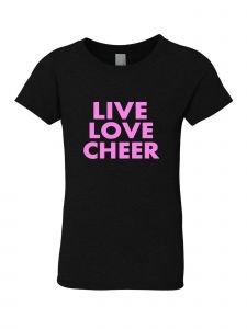 Big Girls Black Glitter Crewneck Live Love Cheer Short Sleeve Tee 7-14