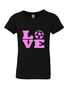 Little Girls Black Glitter Crewneck Love Short Sleeve Tee 4-6