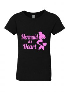 Big Girls Black Glitter Crewneck Mermaid At Heart Short Sleeve Tee 7-14