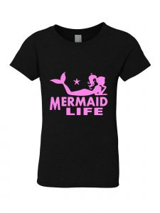 Big Girls Black Glitter Crewneck Mermaid Life Short Sleeve Tee 7-14