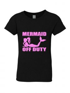 Little Girls Black Glitter Crewneck Mermaid Off Duty Short Sleeve Tee 4-6
