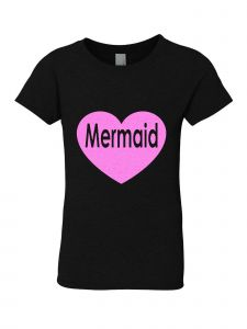 Little Girls Black Glitter Crewneck Mermaid Short Sleeve Tee 4-6