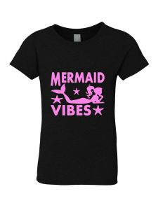 Big Girls Black Glitter Crewneck Mermaid Vibes Short Sleeve Tee 7-14