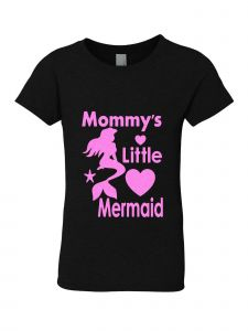 Big Girls Black Glitter Crewneck Mommy's Little Mermaid Short Sleeve Tee 7-14