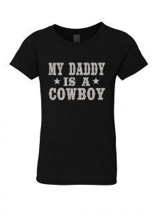 Big Girls Black Glitter Crewneck My Daddy Is A Cowboy Short Sleeve Tee 7-14