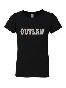 Little Girls Black Glitter Crewneck Outlaw Short Sleeve Tee 4-6