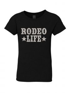 Little Girls Black Glitter Crewneck Rodeo Life Short Sleeve Tee 4-6