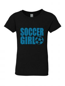 Big Girls Black Glitter Crewneck Soccer Girl Short Sleeve Tee 7-14