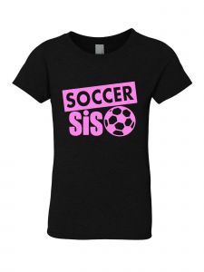 Big Girls Black Glitter Crewneck Soccer Sis Short Sleeve Tee 7-14