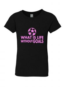 Big Girls Black Glitter Crewneck What Is Life Without Goals Short 7-14