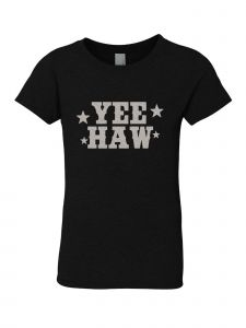 Little Girls Black Glitter Crewneck Yee Haw Short Sleeve Tee 4-6