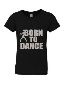 Big Girls Black Silver Glitter Born To Dance Print T-Shirt 7-14