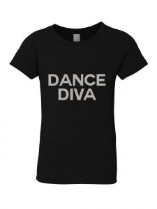 Little Girls Black Silver Glitter Crew Neck Dance Diva T-Shirt 4-6