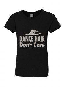 Big Girls Black Silver Glitter Crew Neck Dance Hair Don't Care T-Shirt 7-14