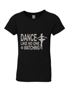 Little Girls Black Silver Glitter Crew Neck Dance Like No One T-Shirt 4-6