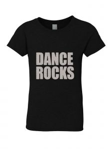 Little Girls Black Silver Glitter Crew Neck Dance Rocks T-Shirt 4-6
