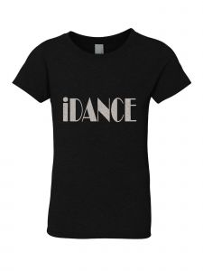 Big Girls Black Silver Glitter Dance Printed T-Shirt 7-14