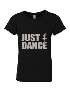 Big Girls Black Silver Glitter Crew Neck Just Dance T-Shirt 7-14