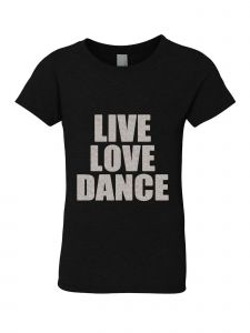 Big Girls Black Silver Glitter Crew Neck Live Love Dance T-Shirt 7-14