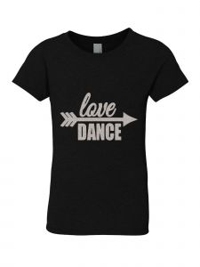 Little Girls Black Silver Glitter Crew Neck Love Dance T-Shirt 4-6