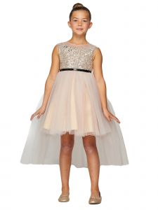 Big Girls Champagne Sequin Tulle Belt High-Low Junior Bridesmaid Dress 8-12