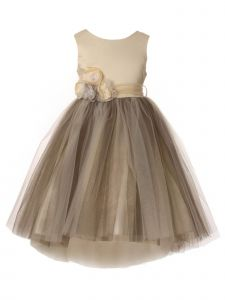 Big Girls Champagne Tulle Stoned Flower High-Low Junior Bridesmaid Dress 8-12