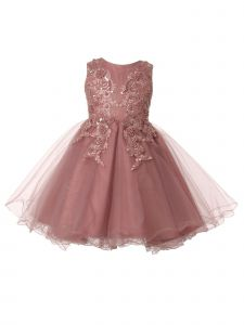 Little Girls Dusty Rose Beaded Flower Glitter Tulle Flower Girl Dress 2-6