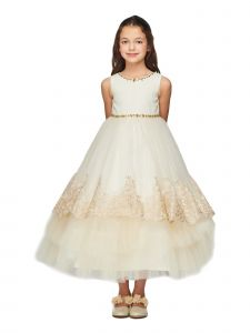 Little Girls Gold Metallic Trim Stones Sash Flower Girl Dress 2-6