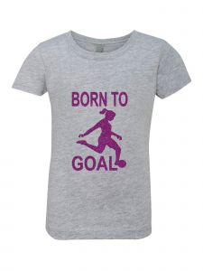 Little Girls Grey Glitter Crewneck Born To Goal Short Sleeve Tee 4-6