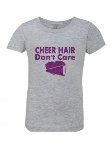 Big Girls Grey Glitter Crewneck Cheer Hair Don't Care Short Sleeve Tee 7-14