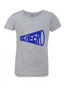 Big Girls Grey Glitter Crewneck Cheer Short Sleeve Tee 7-14