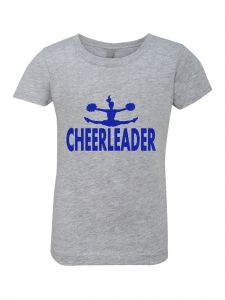 Little Girls Grey Glitter Crewneck Cheerleader Short Sleeve Tee 4-6