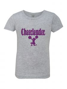 Big Girls Grey Glitter Crewneck Cheerleader Short Sleeve Tee 7-14