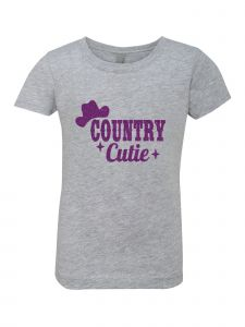 Little Girls Grey Glitter Crewneck Country Cutie  Short Sleeve Tee 4-6