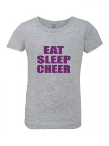 Big Girls Grey Glitter Crewneck Eat Sleep Cheer Short Sleeve Tee 7-14