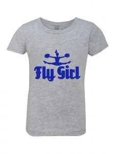 Big Girls Grey Glitter Crewneck Fly Girl Short Sleeve Tee 7-14