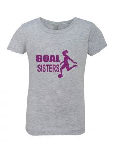 Big Girls Grey Glitter Crewneck Goal Sisters Short Sleeve Tee 7-14