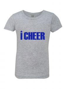 Big Girls Grey Glitter Crewneck I Cheer Short Sleeve Tee 7-14