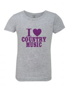 Little Girls Grey Glitter Crewneck I Love Country Music Short Sleeve Tee 4-6