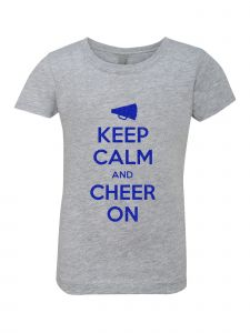 Big Girls Grey Glitter Crewneck Keep Calm And Cheer On Short Sleeve Tee 7-14