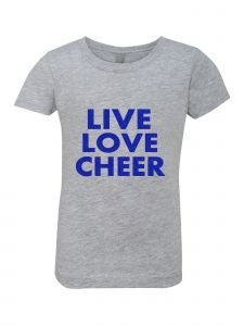 Little Girls Grey Glitter Crewneck Live Love Cheer Short Sleeve Tee 4-6