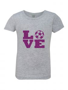 Big Girls Grey Glitter Crewneck Love Short Sleeve Tee 7-14