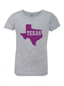Big Girls Grey Glitter Crewneck Texas With Map Short Sleeve Tee 7-14