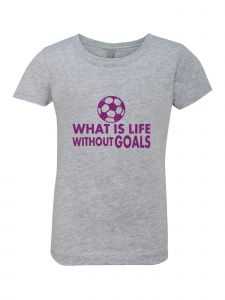 Little Girls Grey Glitter Crewneck What Is Life Without Goals Short 4-6