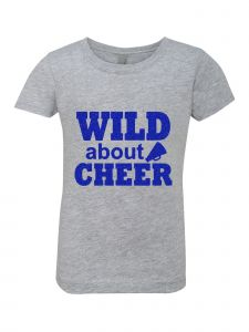 Little Girls Grey Glitter Crewneck Wild About Cheer Short Sleeve Tee 4-6