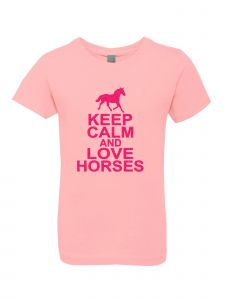 Big Girls Pink Glitter Crewneck Keep Clam And Love Horses Short Sleeve Tee 7-14