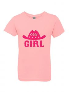 Little Girls Pink Glitter Crewneck Cow Girl Short Sleeve Tee 4-6