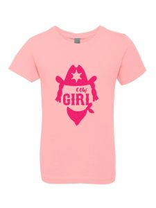 Big Girls Pink Glitter Crewneck Cow Girl Short Sleeve Tee 7-14