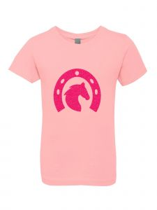Little Girls Pink Glitter Crewneck Horse Shoe With Horse Short Sleeve Tee 4-6