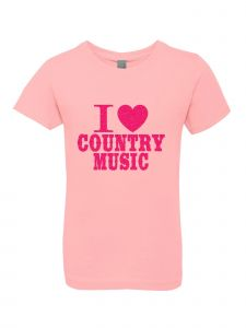 Big Girls Pink Glitter Crewneck I Love Country Music Short Sleeve Tee 7-14